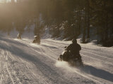 Snowmobilers in Yellowstone National Park, Wyoming Photographic Print by Raymond Gehman
