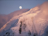 The Moon Rises over Snow-Blown Peaks on Anvers Island Photographic Print by Bill Curtsinger
