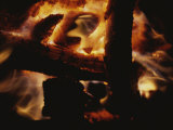 Close-up of Burning Fire on a Beach Photographic Print by Todd Gipstein