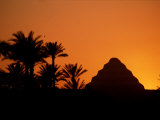 A Silhouette of the Step Pyramid at Dahshur Photographic Print by Kenneth Garrett