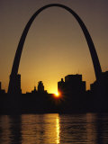 Silhouette at Twilight of the Gateway Arch and Surrounding Skyline Photographic Print by Kenneth Garrett