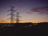 A Twilight Los Angeles Sky Crisscrossed with Power Lines Photographic Print by Gordon Wiltsie