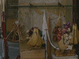 Brooms, Baskets, Hangers, and Other Cane Goods Fill a Vendors Stall Photographic Print by Raul Touzon