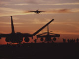 Silhouetted Planes on an Aircraft Carrier at Twilight Photographic Print by Medford Taylor