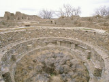 A View of Sandstone Walls and Multi-Level Kiva on West Ruin Plaza Photographic Print by Rich Reid
