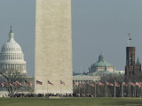 Tourists and Flags Surrounding the Base of the Washington Monument Photographic Print