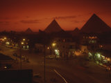 Nazlet El Samman, Town with Giza Pyramids, Sunset Photographic Print