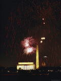 Fireworks over the Mall with Monuments and the Capitol in Background Photographic Print by Karen Kasmauski
