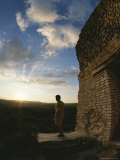 Tourist by Pre-Columbian Ruin at Twilight, Belize Photographic Print by Barry Tessman