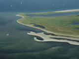Aerial View of Wattenmeer National Park Shoreline, Germany Photographic Print by Norbert Rosing