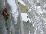 A Man Climbing a Snow-Covered Mountain in Karakoram, Pakistan Photographic Print