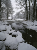 Winter Scene of Creek with Snow-Covered Banks Photographic Print by Mattias Klum