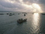 Sunlight Breaks Through Cloud Cover over the Port of Bangkok Photographic Print