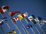 Flags of Canadian Provinces Waving on Flag Poles against a Blue Sky Photographic Print by Todd Gipstein