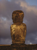Close View of a Moai on Easter Island Photographic Print