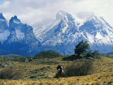Woman Riding Horseback, Torres Del Paine National Park Photographic Print by Skip Brown