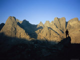 A Climber Silhouetted against Cirque of the Towers, Wind River Range Photographic Print by Bill Hatcher