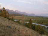 A View of Colter Peak and a Valley with a River at Twilight Photographic Print by Tom Murphy