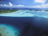 Clear Blue Water Surrounds Small Pacific Islands Photographic Print by Tim Laman