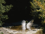 Mountain Biker Splashing Through Water at High Speed, Canaan Valley Photographic Print by Skip Brown