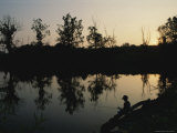 Boy Fishing at Twilight, Black Hills Regional Park, Maryland Photographic Print