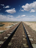 Trans-Continental Train Tracks and Clouds on the Nullabor Plain Photographic Print