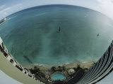 A Fish-Eye Lens View of Waikiki Beach from a Tall Hotel Window Fotografisk tryk af Paul Chesley
