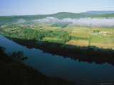 Fog Lifts Above Farms Along the Susquehanna River, Photograph Taken Near the Endless Mountains Photographic Print by Raymond Gehman