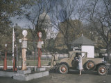A Filling Station in the Shadow of the United States Capitol, Photograph Dated 1929 Photographic Print by Edwin L. Wisherd