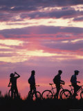 Silhouetted Cyclists Take a Water Break, Northern Arizona Photographic Print by David Edwards