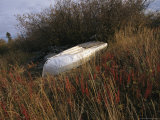 A Boat Rests Upside Down on the Shore of the Mackenzie River Photographic Print by Raymond Gehman