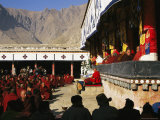 Monks at Nechung Monastery West of Lhasa During Losar Festivities Photographic Print by Maria Stenzel