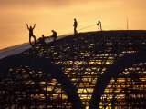 Construction Workers on Dome of Swimming Pool at Sunset, Qinhuangdao Photographic Print by Raymond Gehman