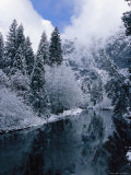 Snow-Covered Trees Reflected on the Surface of the Merced River Photographic Print by Marc Moritsch