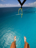 A Tourist Goes Parasailing in Cancun Photographic Print