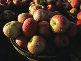 Baskets of Apples Glisten with Morning Dew at a Roadside Stand Photographic Print