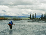 Man Carrying Backpack Crosses River in Denali National Park Photographic Print by Mark Cosslett
