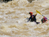 Kayakers Paddle in Colorado River Rapids Photographic Print by Mark Cosslett