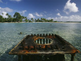 Scars of World War Ii, a Rusty Gun Mount Marks a Link in the Line Islands Chain Photographic Print