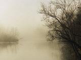 Fog Hovers Above the James River Lámina fotográfica por Gehman, Raymond