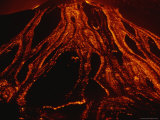 Molten Lava Flows Down a Volcanic Slope Photographic Print by Carsten Peter