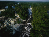 Aerial View of the Thundering Two-Mile-Wide Kongou Falls Photographic Print by Michael Nichols
