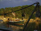 Fishing Pullies Frame a Workboat at Sunset Photographic Print by Stephen St. John