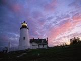 Sunset Tints the Sky Behind the Pemaquid Lighthouse Photographic Print by Stephen St. John