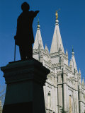 Brigham Young Statue Frames the Jesus Christ Latter Day Saints Church Photographic Print by Stephen St. John
