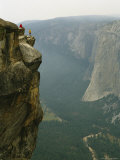 Two Climbers Take in the View of Yosemite Valley from Taft Point Photographic Print by Bill Hatcher