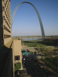 View of the Gateway Arch and Mississippi River Waterfront Photographic Print by Paul Damien