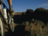 Bicyclist Speeding along a Wilderness Path Photographic Print by Bobby Model