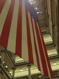 Enormous American Flag Hanging in Marshall Fields Department Store Photographic Print by Paul Damien