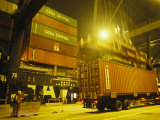 Containers Being Loaded at the Hong Kong Container Terminal Photographic Print by Justin Guariglia